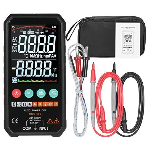 KKmoon Digital Multimeter 6000 Zählt echtes RMS Hochgenaues Smart AC/DC-Spannung Widerstand Kapazität Frequenzkontinuität Diode Temperatur NCV-Test 3,3-Zoll-LCD Display Dateholdfunktion Taschenlampe