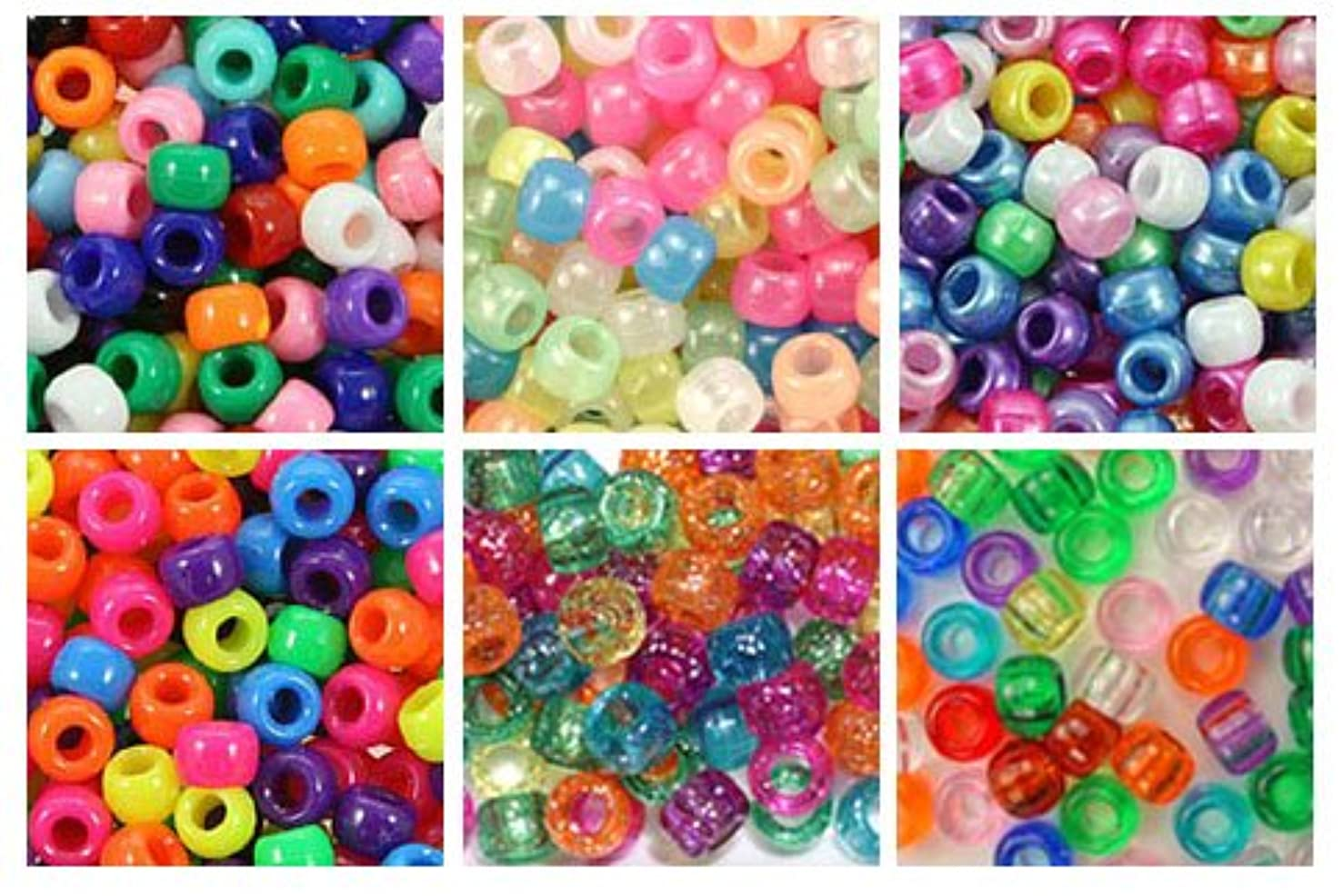 Multi Color 6 x 9mm Plastic Craft Pony Beads, 6 Bags Variety Pack (About 3000 Beads), Beads Kit Gift Set