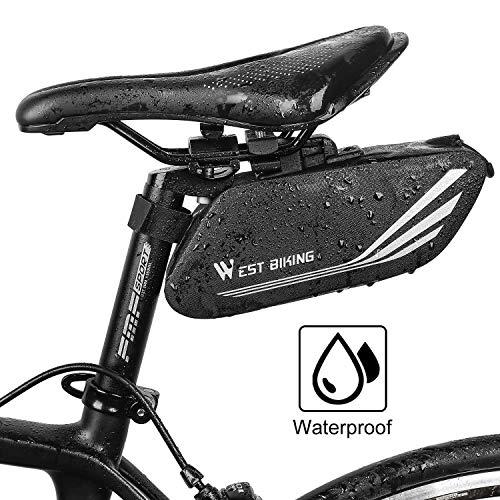 LuTuo Fahrrad Satteltasche, Fahrradhecktasche, Kompakte Rahmentasche, Große Kapazität & Regenfest Fahrradtasche, Satteltasche für Mountainbikes, Fahrräder, und Rennräder, Mit Reflektierenden Streifen