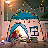FURNIFE Princess Castle,Play Tent for Kids, Fairy Tale Kids Teepee Flower Children Playhouse Indoor & Outdoor, Gift Toys for Girls Boys (Blue)
