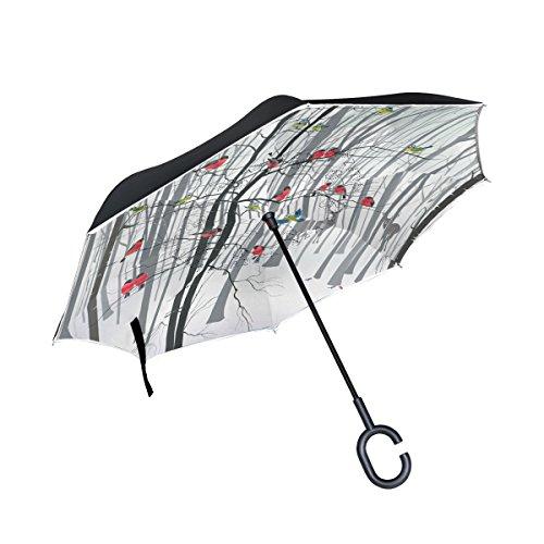 Guarda-chuva invertido My Daily de camada dupla para carros, guarda-chuva invertido de árvore de inverno e pássaro cardeal cervo à prova de vento UV para viagem ao ar livre