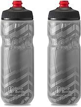 Polar Bottle Breakaway Insulated Bike Water Bottle 2-Pack - BPA Free, Cycling & Sports Squeeze Bottle (Bolt Charcoal 20 oz)