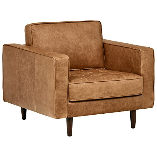 """Rivet Aiden Tufted Mid-Century Modern Leather Accent Chair, 35.4""""W, Cognac"""