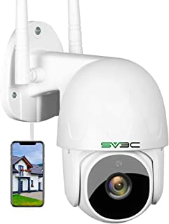WIFI Security Camera Outdoor, SV3C Pan Tilt 1080P IP Camera, Two-way Audio Home Camera, Night Vision ONVIF Camera, Human Detection and Auto Tracking Alarm Cameras, SD Card and Cloud Storage Remote Cam