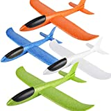 BooTaa 4 Pack Airplane Toys, 17.5' Large Throwing Foam Plane, 2 Flight Mode, Valentine's Day Foam Gliders, Flying Toys, Birthday Gifts for Kids 3 4 5 6 7 8 9 Year Old Boy,Outdoor Sport Game Toys