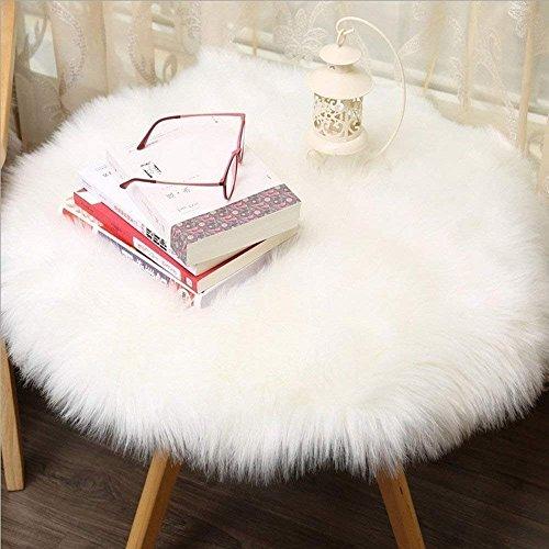 Cumay Kunstfell Pelz Stil Teppich Faux Fleece flauschig Bereich Teppiche Anti-Rutsch Yoga Teppich für Wohnzimmer Schlafzimmer Sofa Boden Teppiche, (Rundes Weiß, 60x60cm)