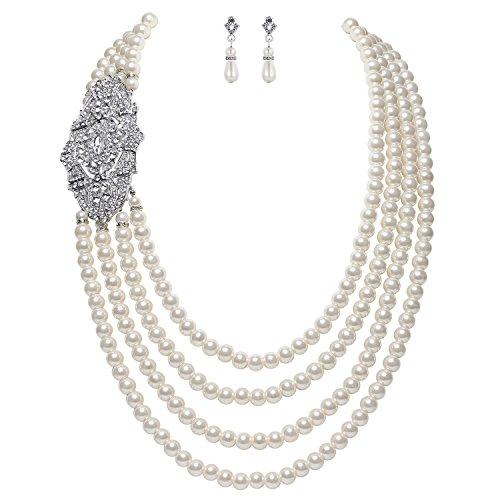 ArtiDeco 1920 Gtasby Accesorios Flapper Collar Pendientes de Perlas Multicapa Choker de Perlas de Imitación con Broche de Flor Gristal