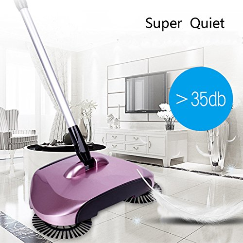 WQWL New Upgraded Aotomatic 360 Degrees Rotation 3-In-1 Non-Electricity Lazy Household Hand Push Adjustable Rod Sweeper Broom Floor Cleaner Dustpan Trash Bin Set (Rose Red)
