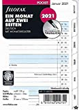 Filofax 2021 Pocket A7 Kalender Kalendarium 1Monat 2Seiten mit Register Deutsch Monatsplaner 21-68256 Weiss