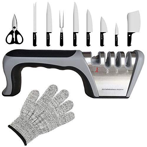 Affilacoltelli professionale-kit Affilatura coltelli 4 in 1 aiuta a,ripristinare e i coltelli da cucina e le forbici, il coltello per affilare la base antiscivolo,Guanti resistenti ai tagli inclusi