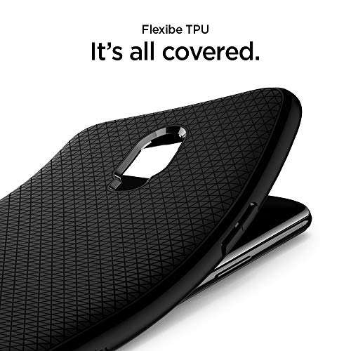 Spigen [Liquid Air] Compatible for OnePlus 6T Case, Slim Protection Original Design Ergonomic Grip Flexible Black TPU Phone Cover for OnePlus 6T