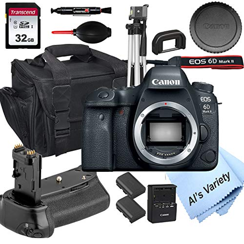 Canon EOS 6D Mark II DSLR Camera (Body Only) + Power Battery Grip, 32GB SD Card, Case, Tripod, and More (14pc Bundle)