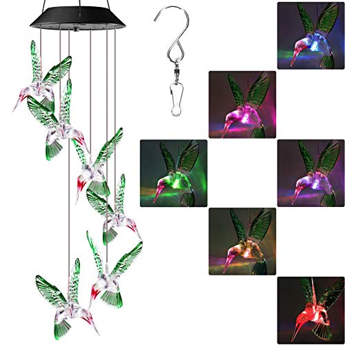 Lyhope Solar Wind Chime Lights, Color Changing Led Mobile Hummingbird Solar Lights, Waterproof Solar Wind Chimes for Outdoor Garden Patio Yard Decoration