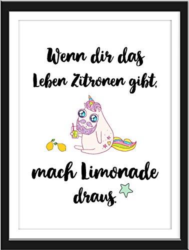 Kunstdruck mit Spruch und Motiv Einhorn Limonade auf Künstlerpapier A4 Poster ohne Rahmen Unicorn Art