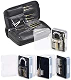 AGT Pickset: Lockpicking-Set mit 30-teiliger Dietrich-Tasche & 4 Übungs-Schlössern (Lockpick Set)