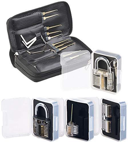 AGT Pickset: Lockpicking-Set mit 30-teiliger Dietrich-Tasche & 4 Übungs-Schlössern (Schloss Knacken)