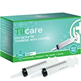 60ml Catheter Tip Syringe with Covers 50 Pack by Tilcare - Sterile Plastic Medicine Food Droppers for Children, Pets or Adults – Latex-Free Oral Medication Dispenser - Large Feeding Tube Syringes