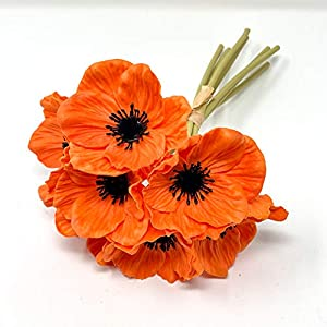 FRP Flowers – Anemone Poppy – 7 PCS Bouquet Real Touch Artificial Flowers for Floral Arrangements and Home Decor (10 Inches) (Orange)