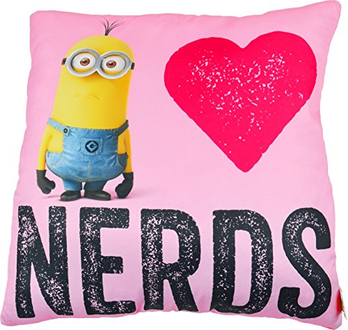Minions Cojín I Love Nerds, 40 x 40 cm, color rosa