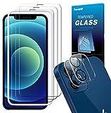 TOPACE Schutzfolie kompatibel mit iPhone 12 Panzerglas(3)+Kamera Panzerglas(2), Display und Kamera schützen, 9H Härte Panzerglas Schutzfolie, HD Klar Blasenfrei Glas Displayschutzfolie