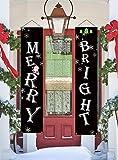NIGHT-GRING Weihnachtsschild, Aufschrift Merry Bright Veranda Schild, hängend, für Zuhause,...