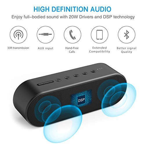 Aptoyu Bluetooth Speaker, Wireless Bluetooth 4.2 Portable Speakers with Built-in Mic, Louder Volume 20W Power, More Bass, for Home Travel Camping Biking