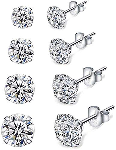 Stud Earrings for Women, 4 Pairs 925 Sterling Silver Cubic Zirconia Stud Earrings Set, Hypoallergenic Small Sleeper Cartilage Studs, with Clear 5A Cubic Zirconia, Size: 3, 4, 5, 6mm