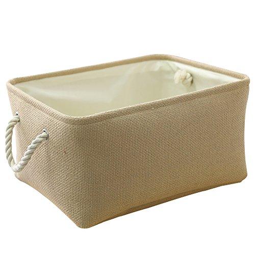 TheWarmHome Decorative Basket Rectangular Fabric Storage Bin Organizer Basket with Handles for Clothes Storage Beige 157L118W83H