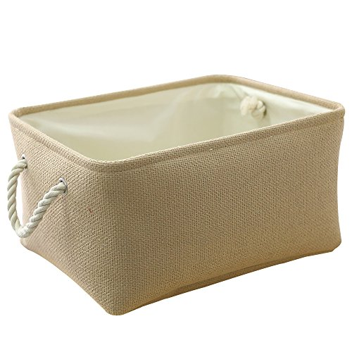 TheWarmHome Decorative Basket Rectangular Fabric Storage Bin Organizer Basket with Handles for Clothes Storage (Beige, 13.8L9.8W6.7H)