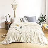 Lynnlov 100% Cotton Cable Knit Blanket Full Size 70' x 90', Ultra Soft Cozy Chic Travel Knitted Blankets for Bedroom Living Room, Decorative Lightweight Woven Blanket for Bed Sofa Couch, Beige