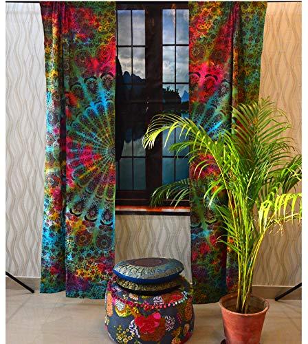 Curtains Kitchen Window Mandala Curtains Drape Balcony Room Decor Tie Dye Curtain Set Multi Color Mandala