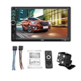 QIEZI 7' 2 DIN MP5 Car Bluetooth Music Player Radio Camera Touch Screen Stereo - Supports Android iOS System Image Connection