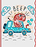 Beep: Primary Composition Notebook Story Paper Journal For Kids • Dotted Midline and Picture Space • Grades K-2 School Exercise Book