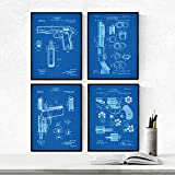 Nacnic Prints Vintage Patents Guns - Set of 4 - Unframed 8x11 inch Size - 250g Paper - Beautiful Poster Painting for Home Office Living Room