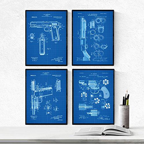 Nacnic Azul - Pack de 4 Láminas con Patentes de Armas. Set de Posters con inventos y Patentes Antiguas. Elije el Color Que Más te guste. Impreso en Papel de 250 Gramos