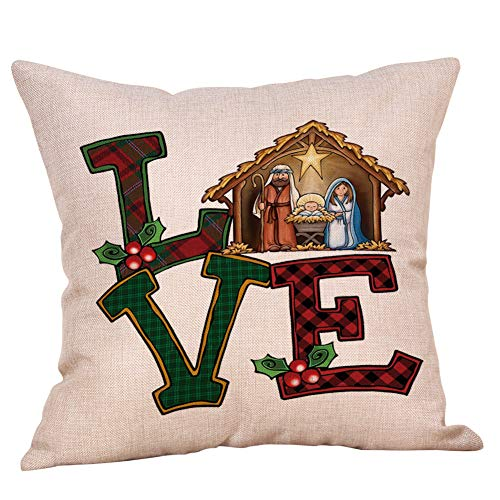 Homesister 18x18 Inch Winter Oh Holy Night Jesus the Birth of Christ Love Christmas Square Linen Burlap Throw Pillow Case With Zipper, Decorative Pillow Cover for Couch, Car, Bedrooms and Sofas, 1 Pcs