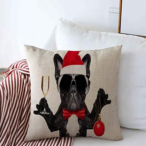 Pillow Case Year Xmas Santa Claus French Bulldog Dog Christmas Toasting Holidays Winter Party Sunglasses Design Farmhouse Decorative Throw Pillowcase 18'x18' for Sofa Decorations