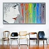 N / A Chica Sexy con Lienzo de Arco Iris para Imprimir póster de Grabado para la decoración del hogar de la Sala de Estar sin Marco 70X140CM