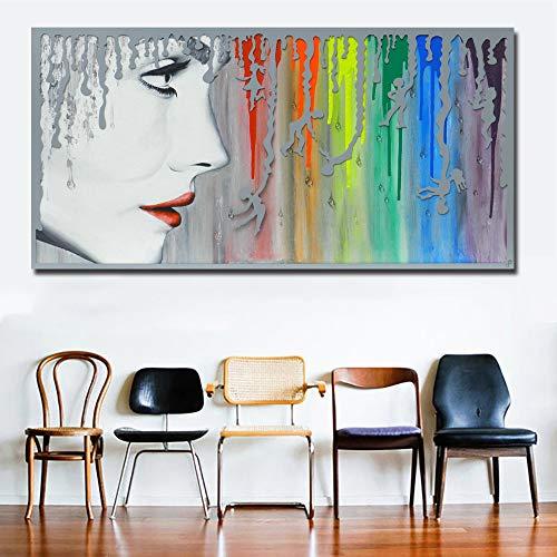 N / A Sexy Mädchen, das Regenbogen-Leinwand verwendet, um Druckplakat für Wohnzimmerdekoration Rahmenlos 70X140CM zu drucken