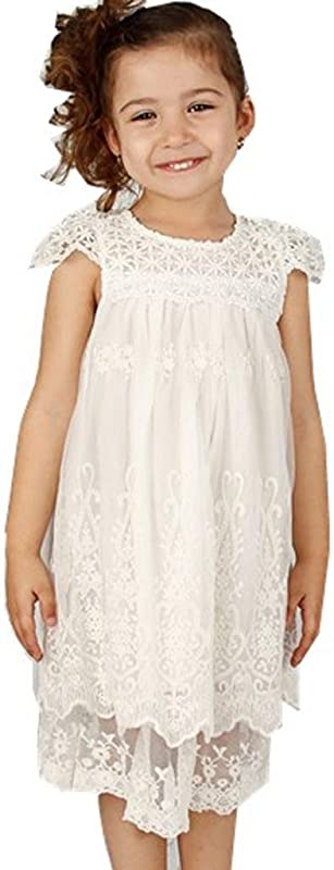 Bow Dream Off White Ivory White Vintage Rustic Baptism Lace Flower Girl S Dress