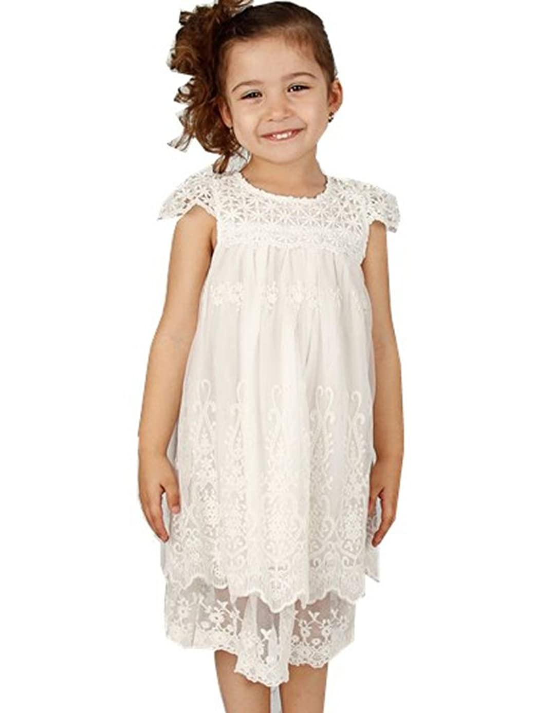 Bow Dream Off White Ivory White Vintage Rustic Baptism Lace Flower Girl's Dress