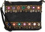 styleBREAKER Bolso de Mano Clutch en óptica de Tela de Yute en un Moderno Estilo étnico Decorado con Bordados, Monedas y Espejos pequeños, Bolso de Bandolera, de señora 02012121, Color:Negro