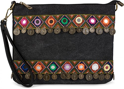 styleBREAKER Clutch in Jute Canvas Optik im trendigen Ethno Style mit Stickereien, Münzen und kleinen Spiegeln verziert, Umhängetasche, Damen 02012121, Farbe:Schwarz