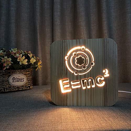 Teoría de la Relatividad E=MC² Tema 3D Lámpara de Madera LED Luz de Noche Decoración de la Habitación del Hogar Lámparas de Mesa Creativas para Regalo de Pascua