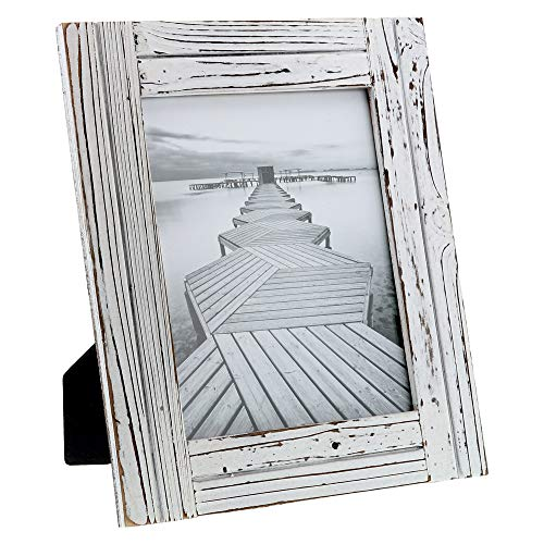 """Barnyard Designs Rustic Farmhouse Distressed Picture Frame - White Wood Photo Frame 8"""" x 10"""""""
