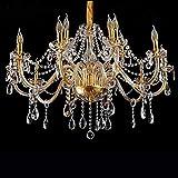 LeMeiZhiJia Kristall Kronleuchter Vintage Lüster Deckenleuchte Pendelleuchte Gold für Wohnzimmer Esszimmer Schlafzimmer (10+5 Flammig)