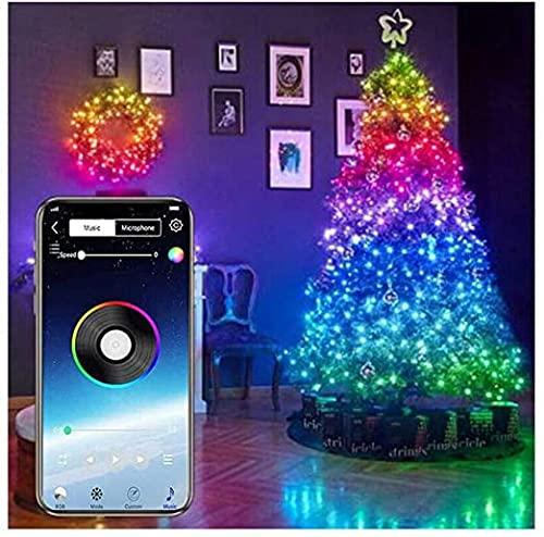 MMAXZ Luci a Corda Fata, luci Natalizie a Strisce LED controllate da App, USB Bluetooth String Light Copper Wire String Light luci Decorative per Alberi di Natale Luci a Strisce
