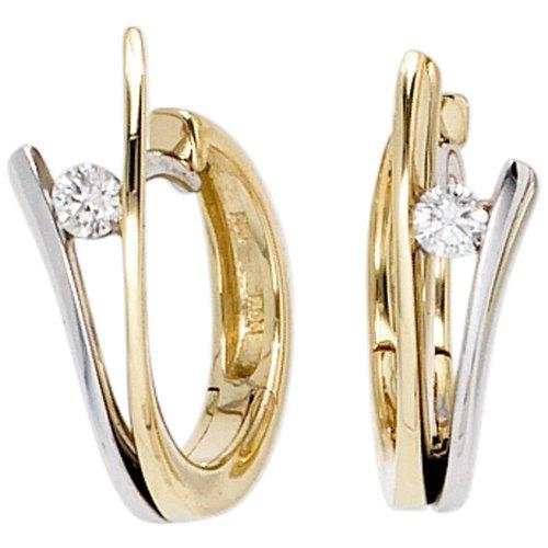 JOBO Creolen 585 Gelbgold Weißgold kombiniert 2 Diamant-Brillanten Gold-Ohrringe