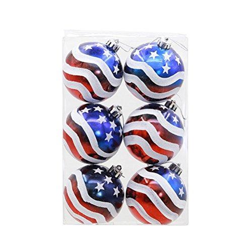 BinaryABC Patriotic Ball Ornaments,Christmas Tree Decorative Ball,Christmas Tree Ornaments,6pcs