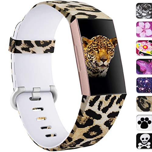 Ouwegaga Compatible with Fitbit Charge 4 Bands for Women Men,for Fitbit Charge 3 Bands Leopard Pattern Small